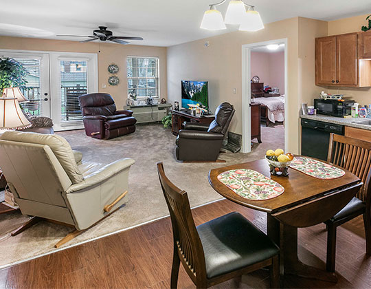 Parkview Senior Living 2-bedroom apartment with view from the kitchen.