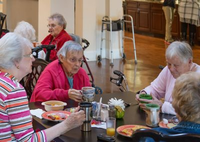 Residents enjoy the food and fellowship as well as the delicious food that's is always served on real china with real glassware.