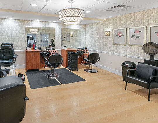 Full service barber shop and salon provided.