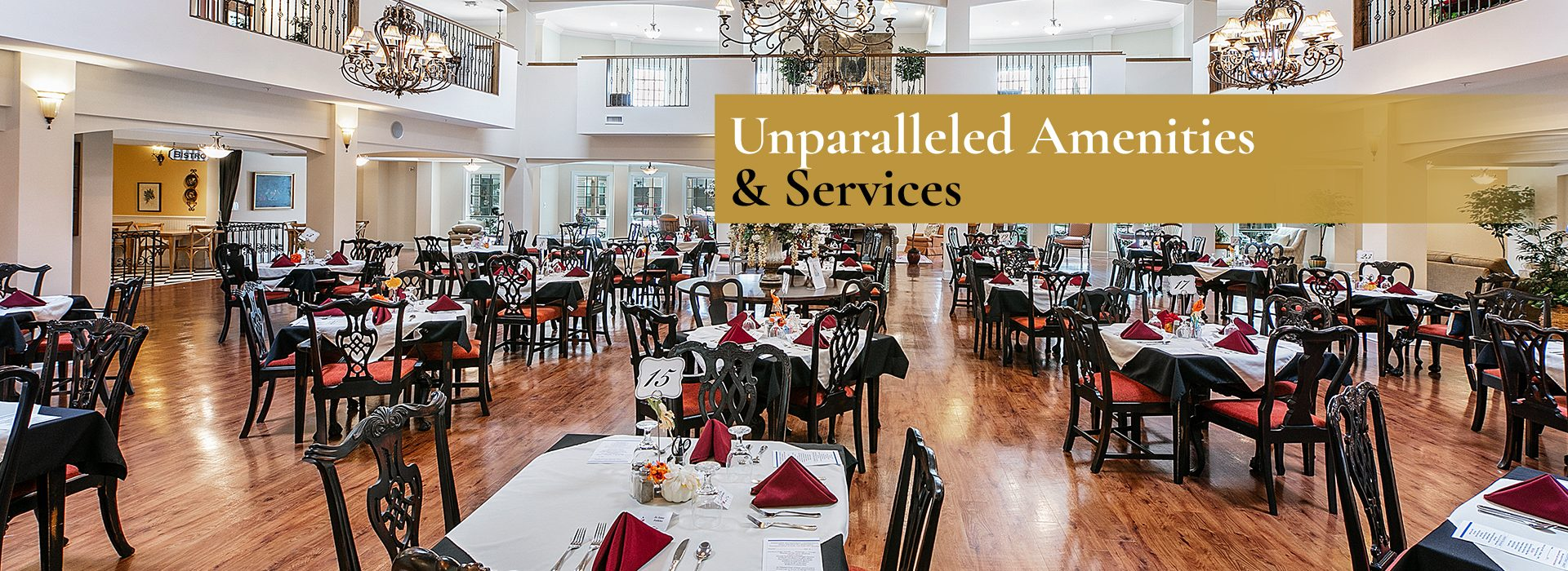 Residents enjoy chef-prepared meals in our beautiful dining facility twice daily.