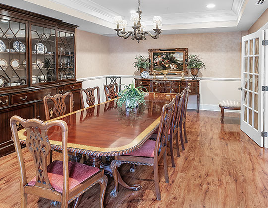 Catering for personal entertaining is available in the private dining room.
