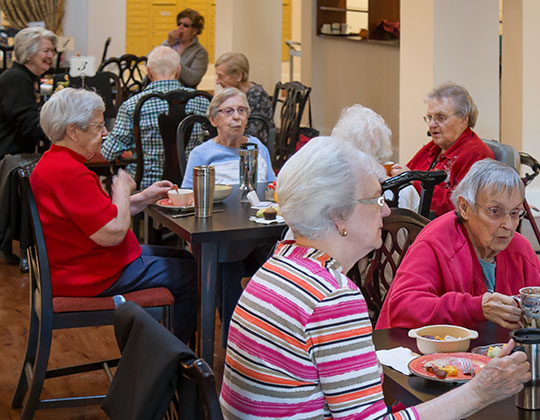 Residents enjoying breakfast together and enjoying time for fellowship.